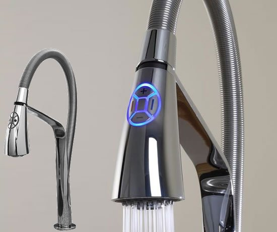 Aquabrass unveils high tech i spray electronic kitchen Designer kitchen faucets