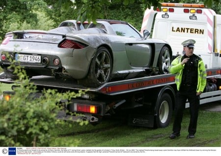 A Porsche sports car thought to be owned by Anthony Hamilton, the father of F1 racing driver Lewis, crashed into the garden of a house in Tring, Herts. Britain - 04 Jun 2008