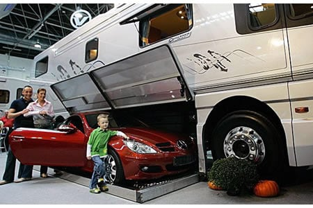 Volkner mobil rv a car carrying motor coach on small bathroom design ideas australia