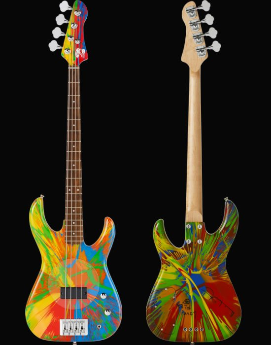 A multi-color spin bass guitar signed by Damien Hirst and Flea is up for $80,000