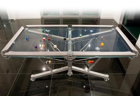 G1 glass top pool table the world s first glass top table for Glass billiard table