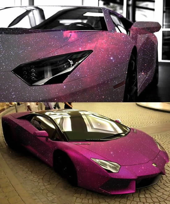 Lamborghini Aventador Rides With Pink Galaxy Paint All Over It