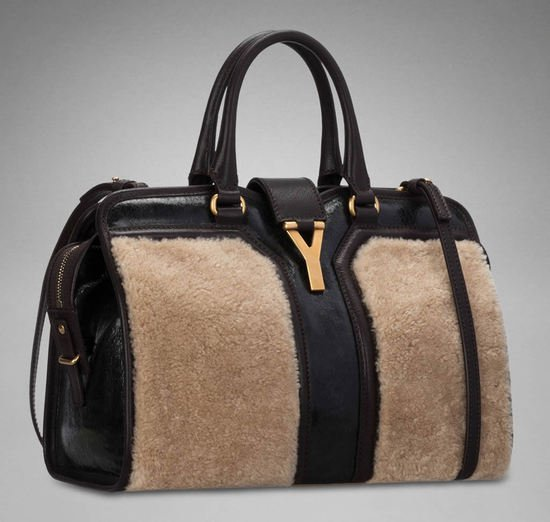 Mini YSL Cabas wool leather bag