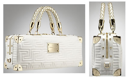 Versace Quilted Couture East/West Bag is chic in white