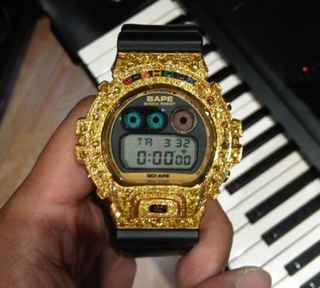 pharrell s custom gold g shock watches are tacky. Black Bedroom Furniture Sets. Home Design Ideas
