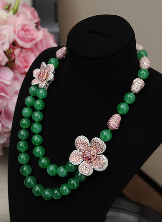 diamond flower pink products necklace linneys jewellery