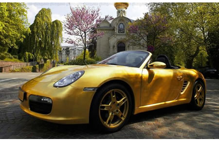 Gold Plated Porsche Dazzles On The Road