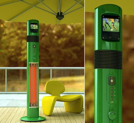 Poseidon Patio Heater With A Built In Media Player For Outdoor Entertainment
