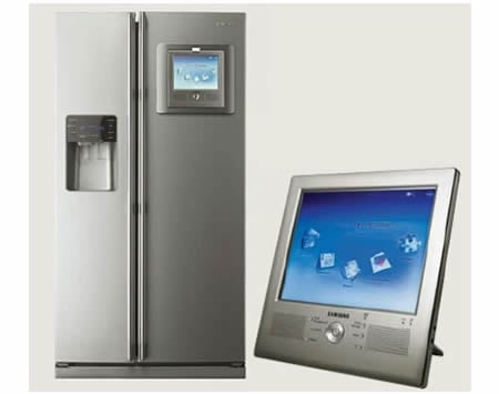 samsung tv fridge. all our lives we keep telling the kids to get a life besides watching tv, and now samsung has gone put tv on its latest fridge. tv fridge l