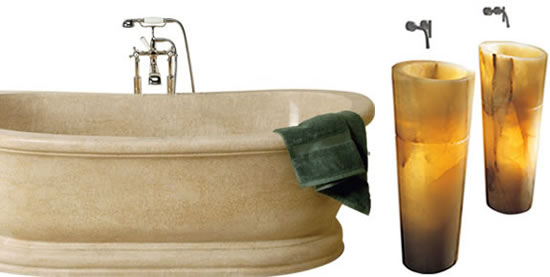 Old World Bathtub And Veneto Pedestal Sink: Masterpieces Of Functional Stone  Art