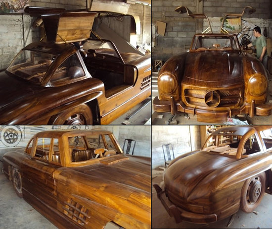 Wooden Mercedes-Benz is handmade with working Gullwing doors & Wooden Mercedes-Benz is handmade with working Gullwing doors -