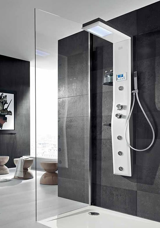 etoile thermostatic shower column offers chroma therapy. Black Bedroom Furniture Sets. Home Design Ideas