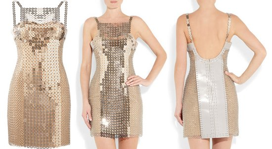 Versace Chain Mail And Silk Satin Mini Dress