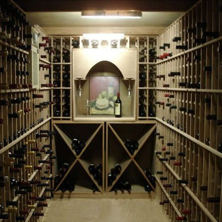 Compact wine cellar vault with inventory system for Walk in wine cellars