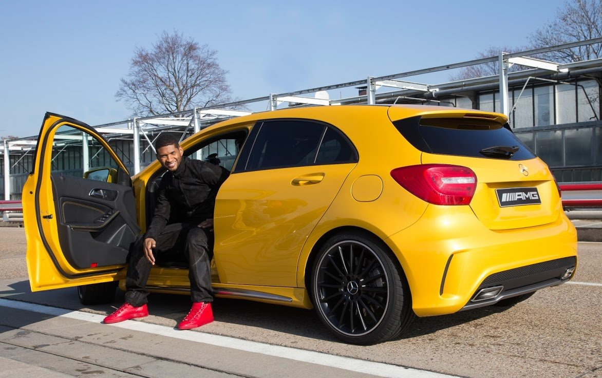 usher is the first to drive the mercedes benz a45 amg. Black Bedroom Furniture Sets. Home Design Ideas