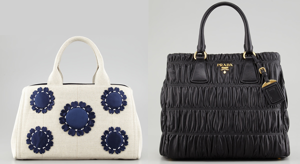 prada leather tote handbag - Prada white canvas tote for the day and black leather tote for the ...