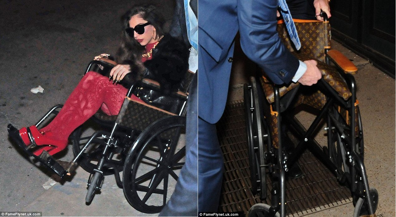 35c94f9425ec Lady Gaga spotted on Louis Vuitton wheelchair