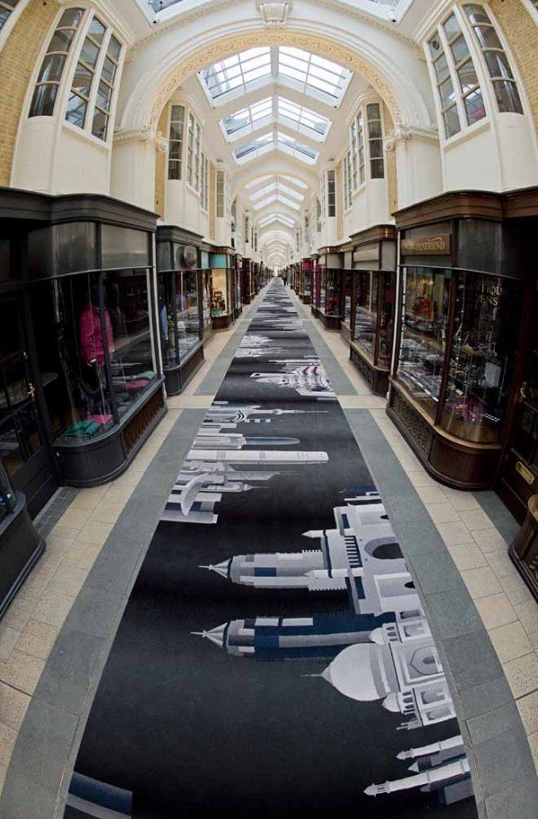 New 180 metre long bespoke designed carpet unveiled at Burlington Arcade