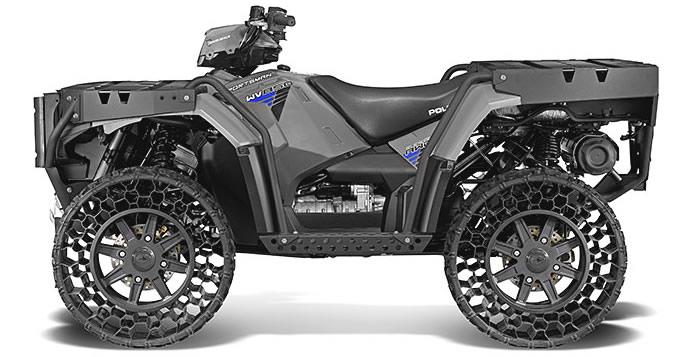 this polaris atv comes with airless tires that can withstand 50 caliber rounds. Black Bedroom Furniture Sets. Home Design Ideas
