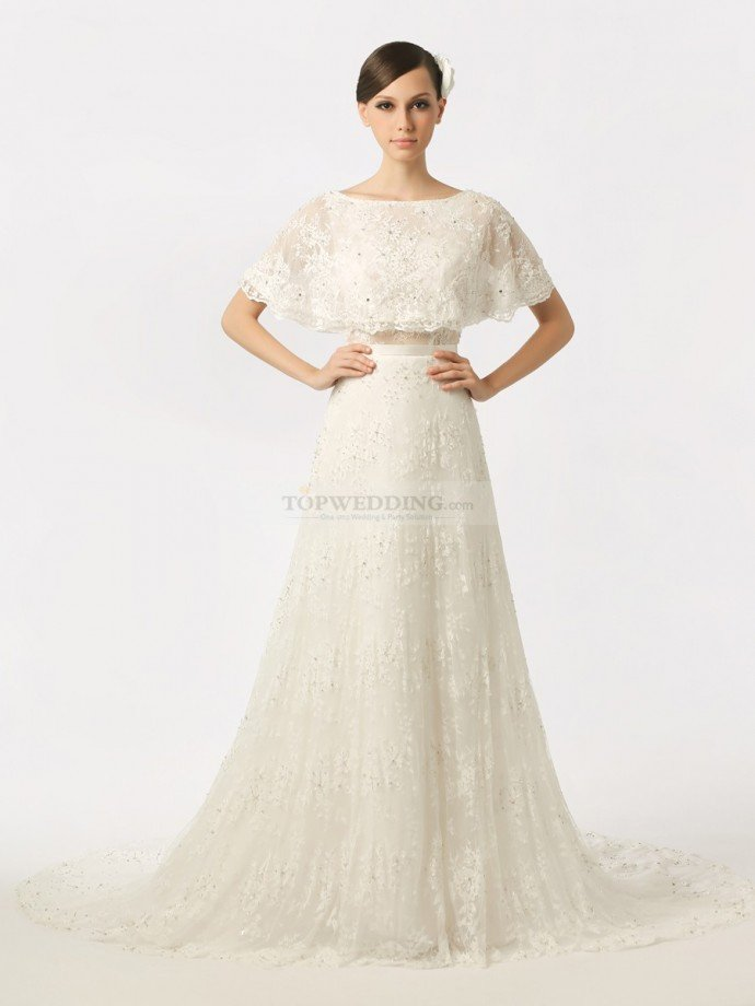 Batwing-Inspired-Top-Featured-Lace-Bridal-Gown-with-Backless-Design