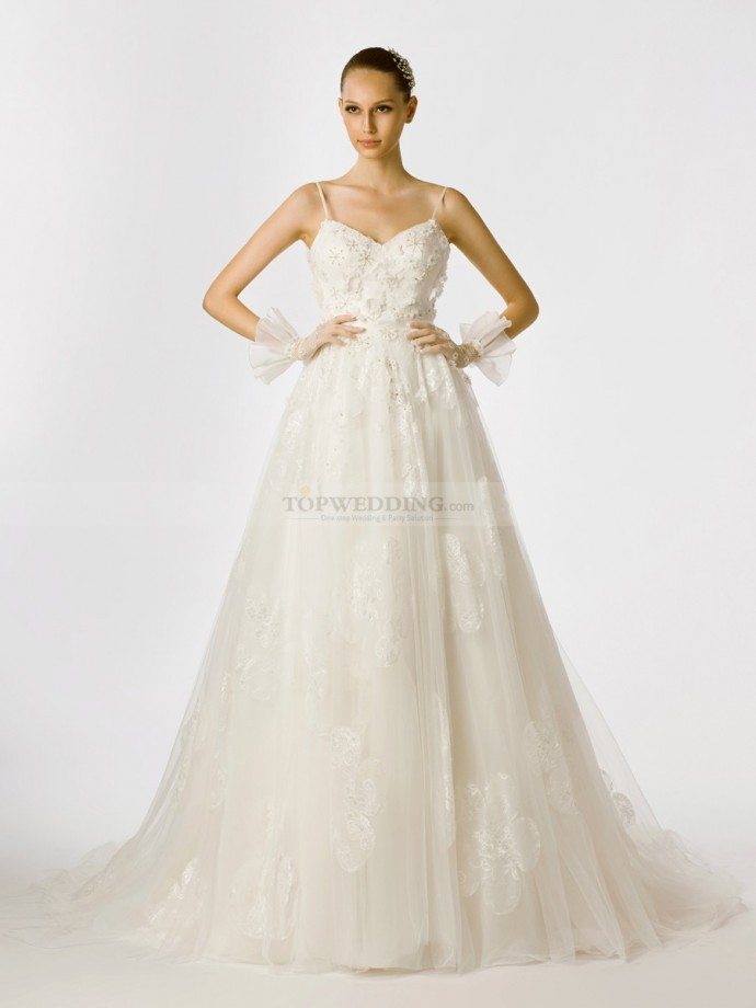 Spaghetti-Strapped-Flower-and-Beading-Embellished-Tulle-Bridal-Gown