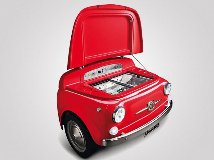 Smeg chops a Fiat 500 and turns it into a refrigerator