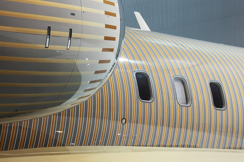 A striped Bombardier, see how a French design studio is taking private jet customization to another level -