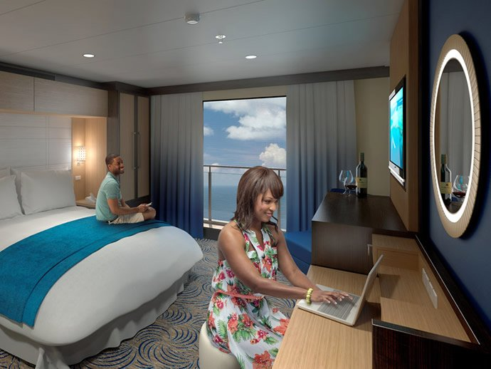Royal caribbean puts 80 inch hd displays to create virtual for Cruise ship balcony view