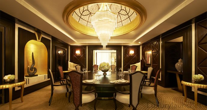 Inside the worlds largest suspended suite at the st regis for Dining room in arabic