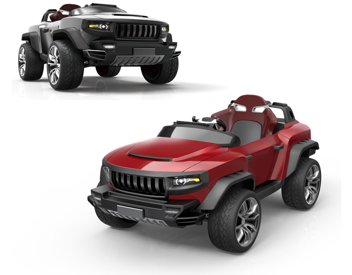 this luxury electric vehicle for kids gives junior a four wheel drive and a sound system. Black Bedroom Furniture Sets. Home Design Ideas