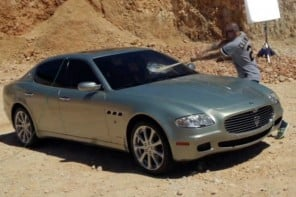Latin rapper René Pérez destroys his $100k Maserati Quattroporte to protest against materialism
