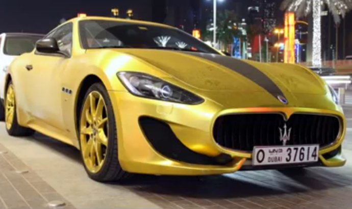 Maserati Granturismo With Matte Gold Wrap And Swarovski