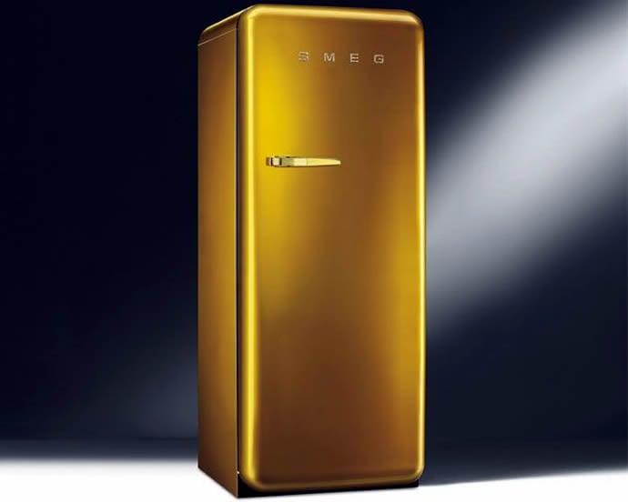 Swarovski Studded Smeg S Gold Retro Fridge Is Home Adornment