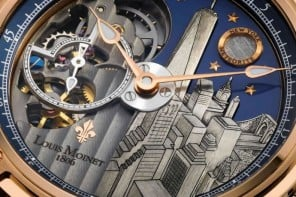 Louis Moinet Mecanograph New York timepiece has the Big Apple's cityscape hand-engraved on the dial