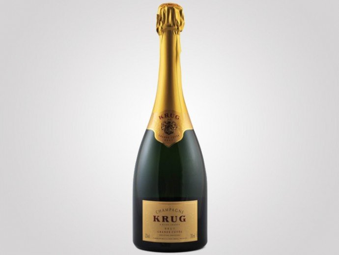 Krug Brut David Sugar Engraved 'Quail Design in Flowering Tree