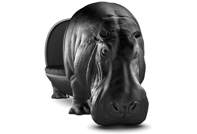 maximo riera s hippopotamus sofa brings the power and tenacity of