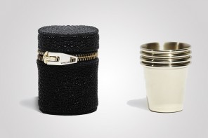 Alexander Wang shot glasses stack up inside case