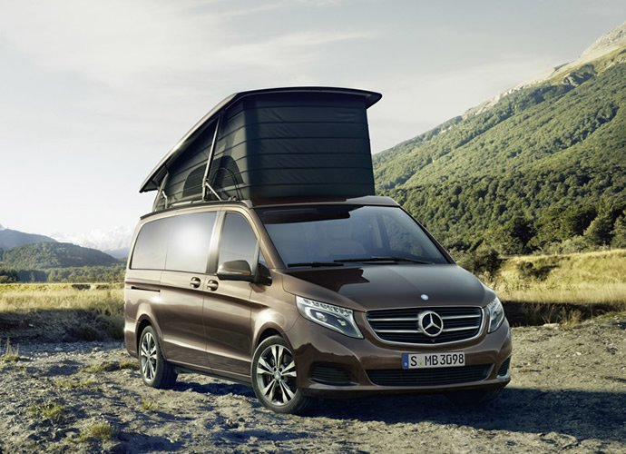 mercedes unveils elegant marco polo camper van based on all new v class. Black Bedroom Furniture Sets. Home Design Ideas