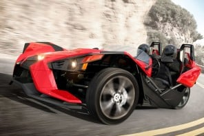 Three-wheeled Polaris Slingshot roadster hits the roads