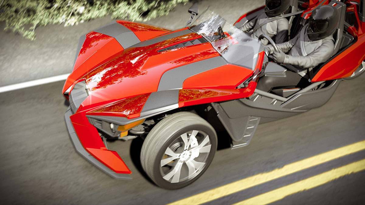 three wheeled polaris slingshot roadster hits the roads. Black Bedroom Furniture Sets. Home Design Ideas