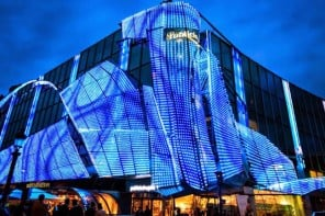 Parisian life gets a dazzling facelift as 17,000 LEDs light up an entire Champs Elysees building