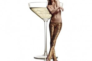 A Mayfair hotel modeled a champagne coupe on Kate Moss's left breast