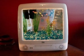 Macquarium: an old Apple iMac G3′s candy-colored body recycled into a fish tank