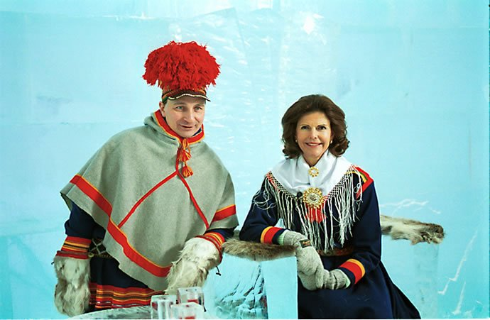 Local Sami entrepreneur Nils Nutti with the Queen of Sweden, late 1990s