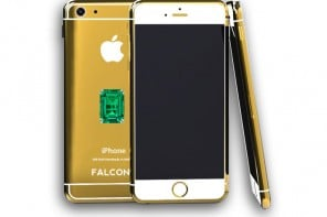 24 K Gold iphone Emerald Sideview