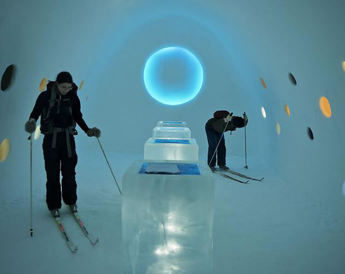 "Ski-in, Ski-out photo exhibition ""ICEHOTEL - A Warm Story About a Cold Place"" by Anna Ohlund and John Pettersoon, 2012"