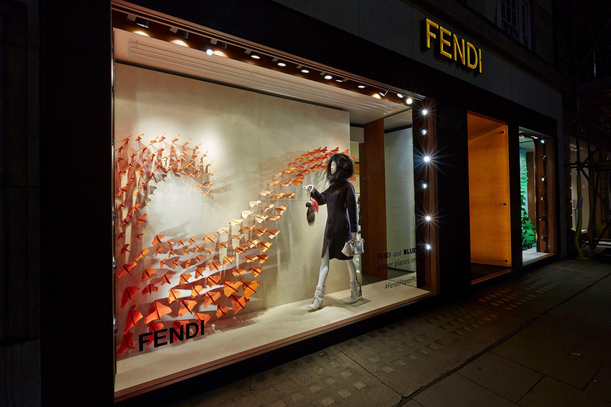 Colorful Paper Planes Invade Fendi Window Displays Worldwide