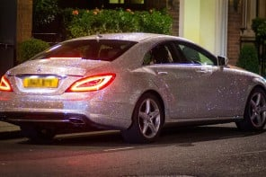 Studded with a million Swarovski crystals this Mercedes Benz is causing traffic jams in London