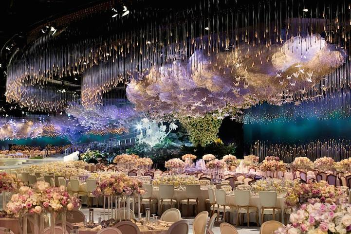 wedding on cloud nine with swarovski crystals  light sticks and paper cranes