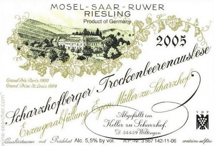 Egon Muller-Scharzhof Scharzhofberger Riesling Trockenbeerenauslese